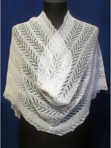 Ажурный белый пуховый шарф (F-1492)